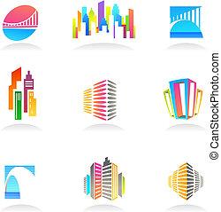 Inmobiliaria y iconos de construcción / logos - 2