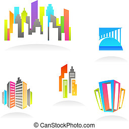 Inmobiliaria y iconos de construcción / logos - 3