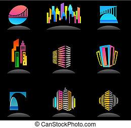 Inmobiliaria y iconos de construcción / logos - 5