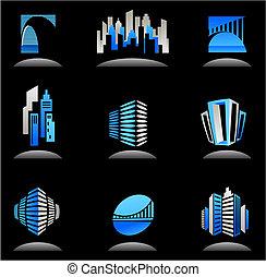 Inmobiliaria y iconos de construcción / logos - 6