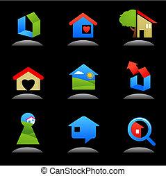Inmobiliaria y iconos de construcción / logos - 7