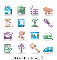 Inmuebles y iconos de construcción