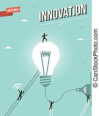 innovación, bombilla, luz, workgroup, idea, illustration.