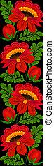 Inofensivo, patrón floral vertical. En un fondo negro
