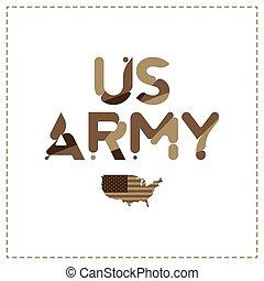 Inscripción original del ejército de EE.UU. en camuflaje con mapa de EE.UU. Ilustración de vectores planos EPS10