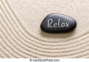 inscripción, piedra, negro, relajar