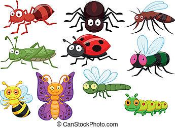 insecto, conjunto, caricatura, colección