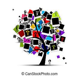 insertar, imagen, memorias, árbol, su, foto encuadra, diseño