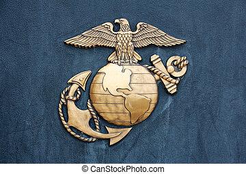 insignia, azul, unido, oro, cuerpo, estados, marina
