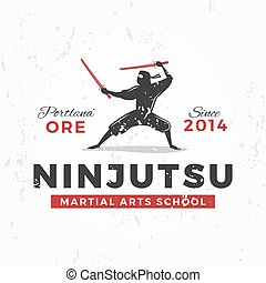 insignia, badge., arte, ninja, vendimia, japonés, ilustración, camiseta, marcial, concepto, plano de fondo, equipo, ninjutsu, grunge, design., logo., mascota