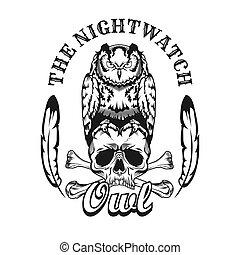 insignia, cráneo, negro, búho, vector, ilustración