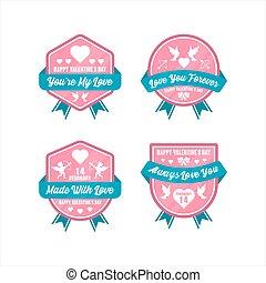 insignia, día, diseño, colección, etiqueta, valentine