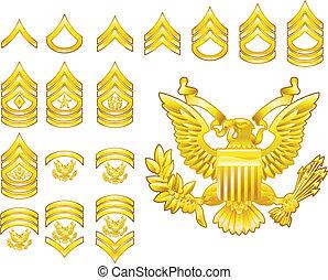 insignia, ejército, iconos, grado, norteamericano, reclutado