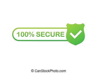 insignia, icon., o, 100, grunge, website., botón, illustration., vector, comercio, seguro, acción