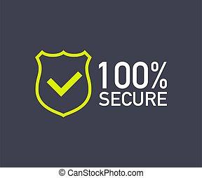 insignia, icon., o, 100, grunge, website., botón, illustration., vector, comercio, seguro