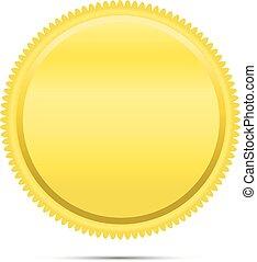 insignia, moneda, emblema, icono, dorado, redondo