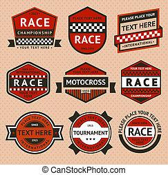 insignias de carreras puestas - estilo antiguo