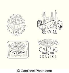 insignias de monocromo para las empresas de catering. emblemas vectoriales a mano con ensaladera, botella de vino y vidrio, pizza y texto caligráfico