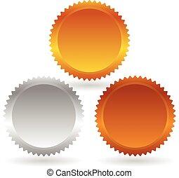 insignias, precio, starburst, oro, shapes., flashes., plata, bronce