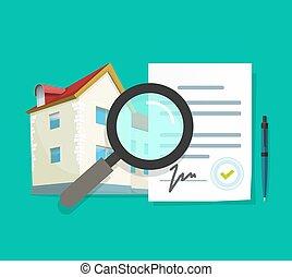 inspección, calidad, examinar, vector, información, propiedad, casa, acuerdo, propiedad, residencial, hogar, revisión, investigación, edificio, verdadero, construcción, apartamento, documentación, arquitectura, auditoría