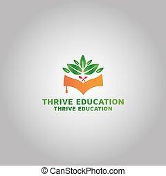 inspiración, logotipo, idea, educación, prosperar, plantilla, diseño