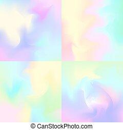 inspirado, pastel, telónes de fondo, holograma, fondos, conjunto, 4, resumen, arco irirs