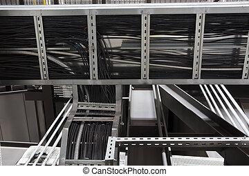 instalación, apertura, cable, pared, por, escalera