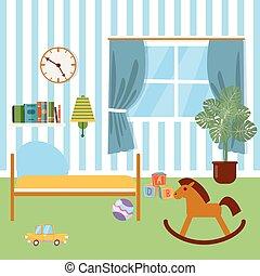 Instalaciones de niños. Muebles de niños y juguetes. Ilustración de vectores