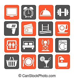 instalaciones, motel, hotel, iconos