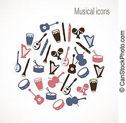 instrumento, musical, iconos