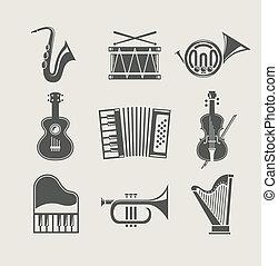 instrumentos, conjunto, musical, iconos