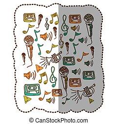 Instrumentos de música notas icono de fondo