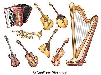 Instrumentos musicales. Vector listo.