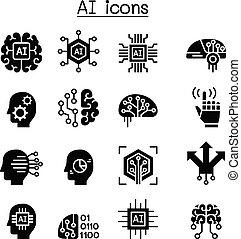inteligencia, conjunto, artificial, icono, ai