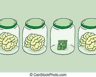 inteligencia, digital, o, artificial, cerebro