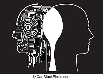inteligencia, fusión, humano