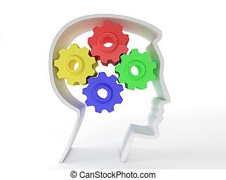 Inteligencia y funciones cerebrales humanas representadas por cambios en forma de cabeza que representan el símbolo de la salud mental y el funcionamiento neurológico en los pacientes con depresión.