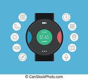 Inteligente diseño de relojes planos concepto de ilustración