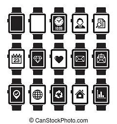 Inteligente juego de icono reloj.