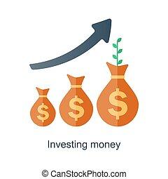 interés, concept., ingresos, dinero., fondo, vector, tiempo, growth., compuesto, plan., futuro, pensión