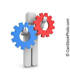 interacción, metáfora, o, competición