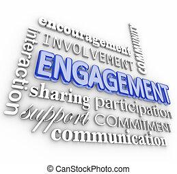 interacción, palabra, collage, compromiso, participación, participación, 3d