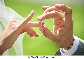 intercambio, anillos, boda