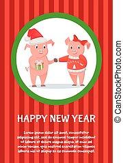 intercambio, cerdito, regalos, feliz, tarjeta, año nuevo, animal