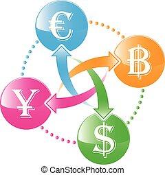 intercambio, cryptocurrency, icon.