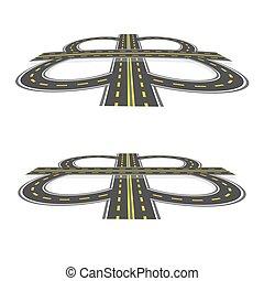 Intercambio de carretera. Autopista con marcas amarillas en la perspectiva. Ilustración: