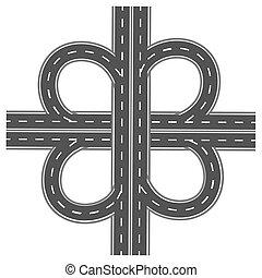Intercambio de carretera. Autopista con marcas blancas. Ilustración