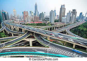 intercambio, empalme, paso superior, shanghai, camino elevado