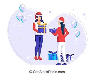 intercambio, navidad, celebration., cuándo, día, regalos, amigos, comes., illustration., vector, hembra