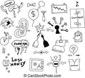 Intereses empresariales con mano dibujada ilustración